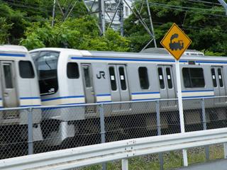 100620 [Rail][踏切]きしゃにちゅうい:横須賀線久木踏切(県道205号線)