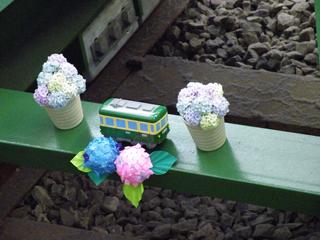 藤沢駅の車止め:アジサイバージョン
